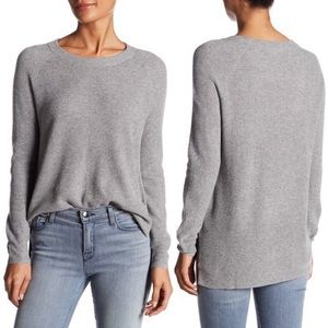 Madewell Heather Grey Waffle Knit Pullover Sweater
